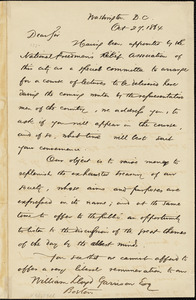 Letter from Stephen James Wilson Tabor, Rufus Leighton, and George E.H. Clery, Washington, [District of Columbia], to William Lloyd Garrison, 1864 Oct[ober] 27