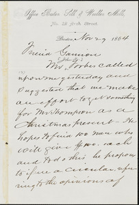 Letter from J.H. Stephenson, Boston, [Massachusetts], to William Lloyd Garrison, 1864 Nov[ember] 29