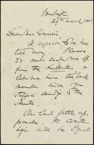 Letter from Charles Sumner, Washington, [District of Columbia], to William Lloyd Garrison, [1865] March 29th