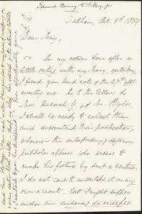 Letter from Edmund Quincy, Dedham, [Massachusetts], to Samuel May Jr., 1869 Oct[ober] 3d