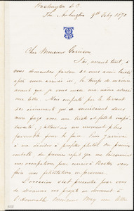 Letter from Alexander Tate, Washington, D[istrict of] C[olumbia], to William Lloyd Garrison, 1870 Feb[ruar]y 9th