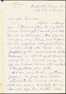 Letter from Laura Giddings Julian, Centreville, Wayne Co[unty], Ind[iana], to Francis Jackson Garrison, 1872 Feb[ruary] 12th