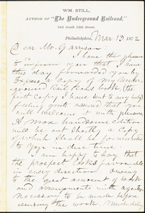 Letter from William Still, Philadelphia, [Pennsylvania], to William Lloyd Garrison, 1872 Mar[ch] 13