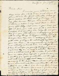 Letter from Elizur Timothy Washburn, Hartford, [Connecticut], to Amos Augustus Phelps, [1827] January 29th