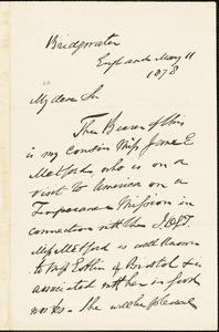 Letter from Francis James Thompson, Bridgewater, England, to William Lloyd Garrison, 1878 May 11