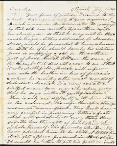 Letter from Almon Underwood, Newark, [New Jersey], to Amos Augustus Phelps, 1846 July 1st