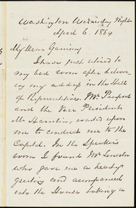 Letter from George Thompson, Washigton, [District of Columbia], to William Lloyd Garrison, 1864 April 6