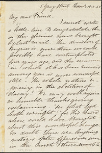 Letter from Eliza Wigham, Edin[burgh, Scotland], to William Lloyd Garrison, [18]65 [February 18]