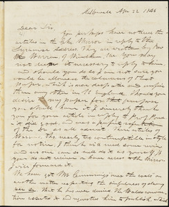 Letter from Austin Willey, Hallowell, [Maine], to Amos Augustus Phelps, 1846 Apr[il] 22