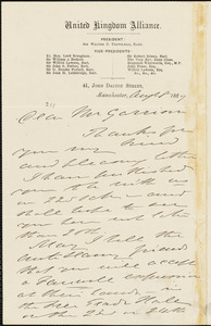 Letter from Thomas Holliday Barker, Manchester, [England], to William Lloyd Garrison, 1867 Aug[us]t 8