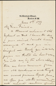 Letter from Henry Vincent, London, [England], to Francis Jackson Garrison, 1877 June 5th