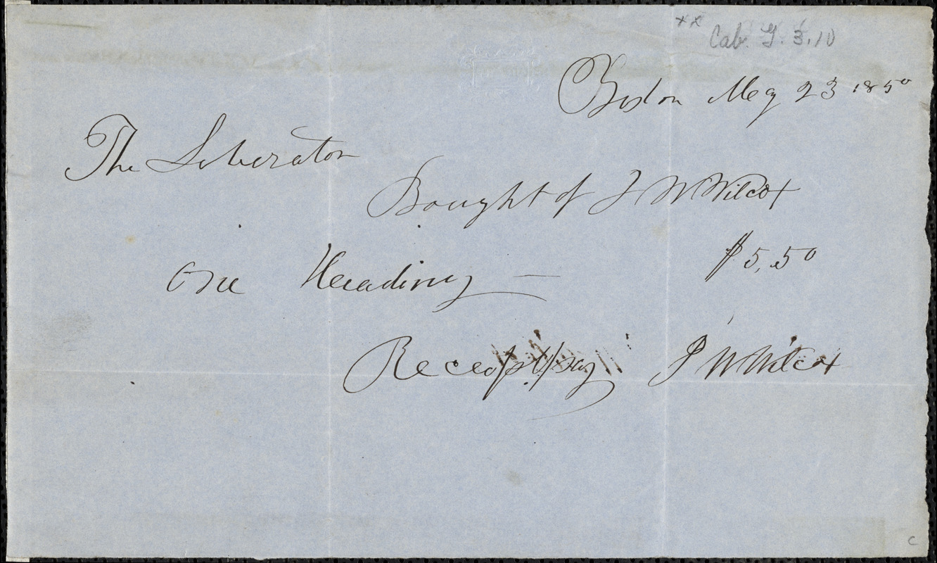 Receipt for subscription to the Liberator, Boston, [Massachusetts], 1850 May 23