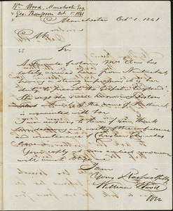 Letter from William Wood, Manchester, Eng[land], to Amos Augustus Phelps, 1841 Oct[ober] 1