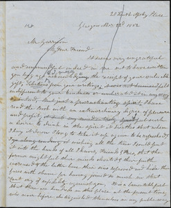 Letter from Mrs. Mary Welsh, Glasgow, [Scotland], to William Lloyd Garrison, 1852 Nov[ember] 22d