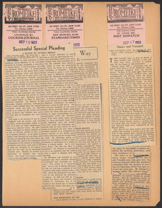 Herbert Brutus Ehrmann Papers, 1906-1970. Sacco-Vanzetti. Reviews, 1933. Box 3, Folder 4, Harvard Law School Library, Historical & Special Collections