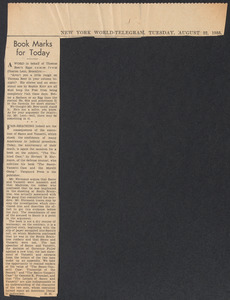 Herbert Brutus Ehrmann Papers, 1906-1970. Sacco-Vanzetti. Clippings, 1930s: loose clippings of reviews. Box 3, Folder 5, Harvard Law School Library, Historical & Special Collections