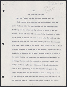 Herbert Brutus Ehrmann Papers, 1906-1970. Sacco-Vanzetti.  1962 MS entitled The Case That Will Not Die. Box 4, Folder 8, Harvard Law School Library, Historical & Special Collections