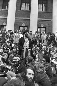 """""""Yippie"""" Jerry Rubin and fans on steps of Harvard's Weidner Library, Cambridge"""