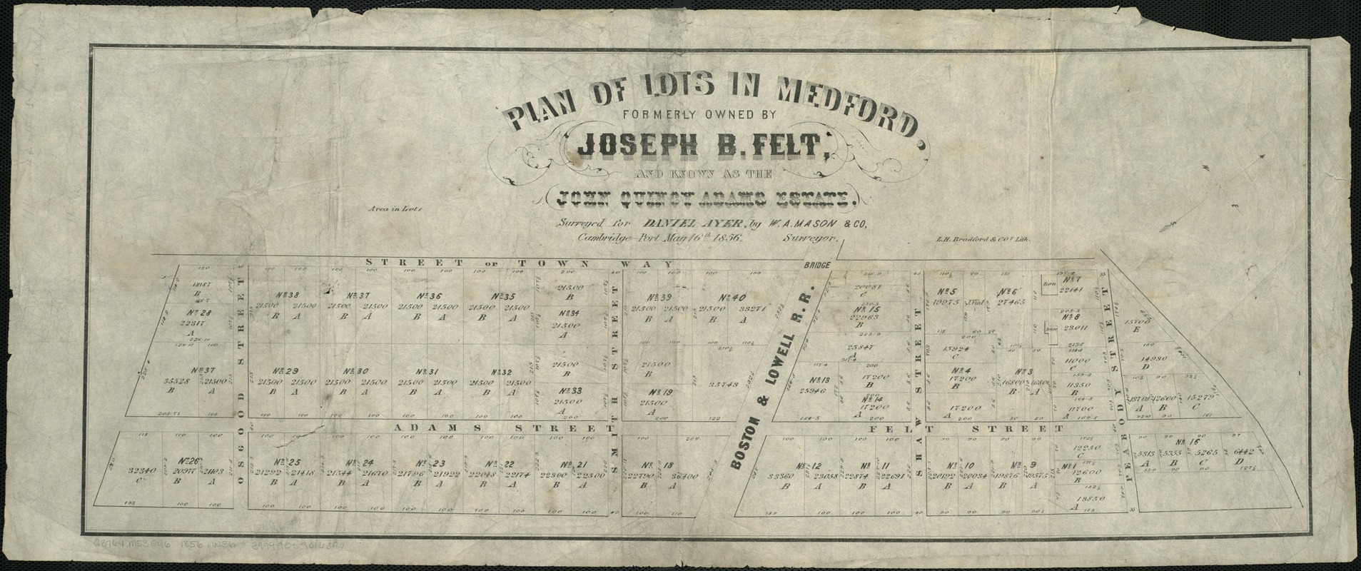 Plan of lots in Medford, formerly owned by Joseph B. Felt, and known as the John Quincy Adams Estate