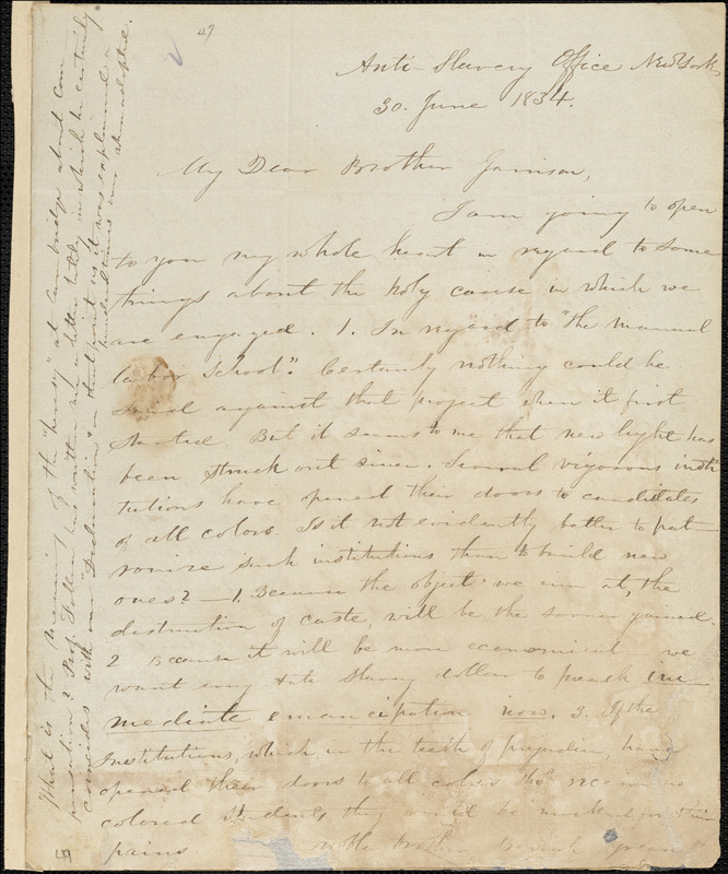 Letter from Elizur Wright, Anti-Slavery Office, New York, [New York], to William Lloyd Garrison, 1834 June 30