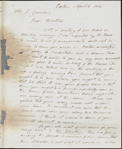 Letter from Henry Clarke Wright, Boston, [Massachusetts], to William Lloyd Garrison, 1836 April 6