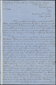 Letter from Angelina Emily Grimkè, New York, to Elizabeth Pease Nichol, 1837 March 17