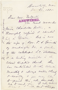 Letter from Thomas Wentworth Higginson, Cambridge, [Massachusetts], to James Redpath, 1885 December 31