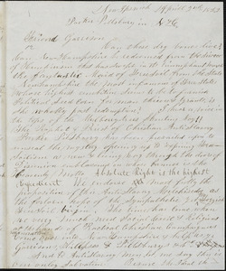 Letter from C.L. Weston, New Ipswich, [New Hampshire], to William Lloyd Garrison, 1852 April 2nd