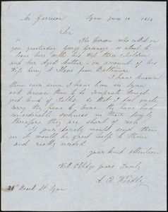 Letter from A.E. Woodly, Lynn, [Massachusetts], to William Lloyd Garrison, 1854 June 22