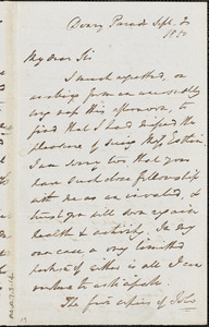 Letter from E. Waring, Deary Parade, to John Bishop Estlin, 1850 September 20