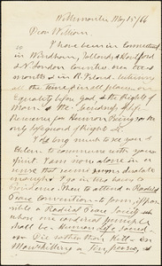 Letter from Henry Clarke Wright, Willimantic, [Windham, Connecticut], to William Lloyd Garrison, [18]66 May 15