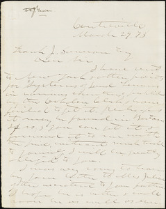 Letter from George Washington Julian, Centreville, [Indiana], to Francis Jackson Garrison, [18]73 March 29