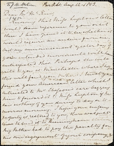 Letter from Mary Anne Estlin, [Bristol, England], to James Miller McKim, 1853 Aug[ust] 12.