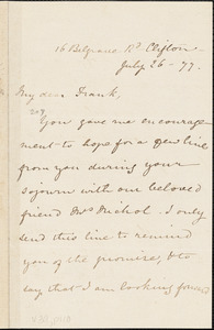 Letter from Mary Anne Estlin, Clifton, [England], to Francis Jackson Garrison, 1877 July 26