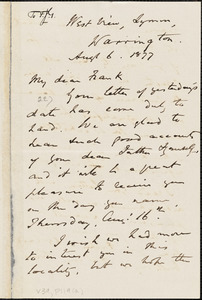Letter from William Robson, Bristol, [England], to Francis Jackson Garrison, Aug[us]t 6, 1877