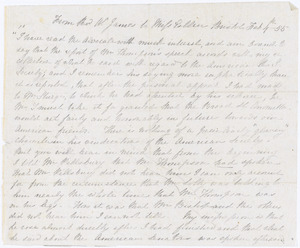Letter from William James, Bristol, [England], to Mary Anne Estlin, 1855 Feb[ruary] 4