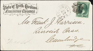 Letter from Daniel Henry Chamberlain, Columbia, [South Carolina], to Francis Jackson Garrison, 1877 M[ar]ch 18