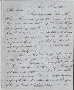 Letter from Andrew Paton, Glasgow, [Scotland], to Mary Anne Estlin, 1853 April 20