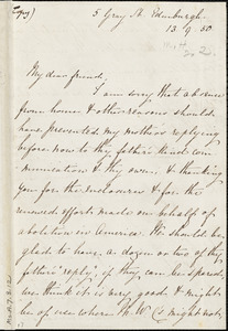 Letter from Eliza Wigham, Edinburgh, [Scotland], to Mary Anne Estlin, 1850 [September] 13