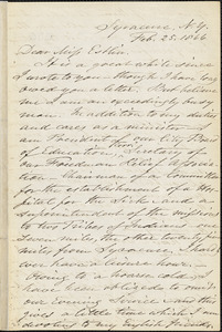 Letter from Samuel Joseph May, Syracuse, [New York], to Mary Anne Estlin, 1866 Feb[ruary] 25