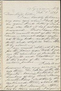 Letter from Samuel Joseph May, Syracuse, [New York], to Mary Anne Estlin, 1869 Feb[ruary] 10