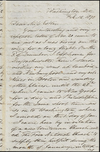Letter from Samuel Joseph May, Washington, District of Columbia, to Mary Anne Estlin, 1870 Feb[ruary] 17