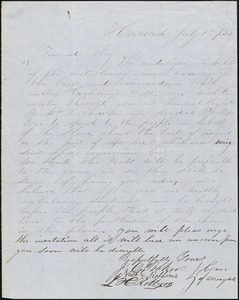 Letter from J.O. Baker, Harwich, [Massachusetts], to Samuel May, 1833 July 1