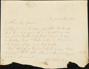 Letter from Robert Dale Owen, New York, [New York], to William Lloyd Garrison, 1831 March 8