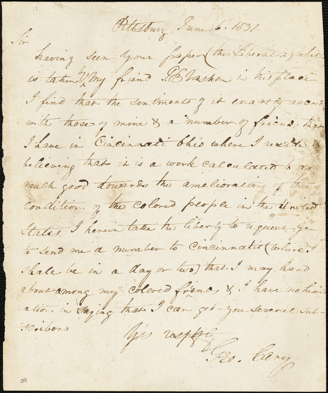 Letter from George Cary, Pittsburg, to William Lloyd Garrison, 1831 June 6