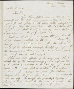 Letter from George Thompson, Boston, [Massachusetts], to Goerge William Benson, 1834 Oct[ober] 7
