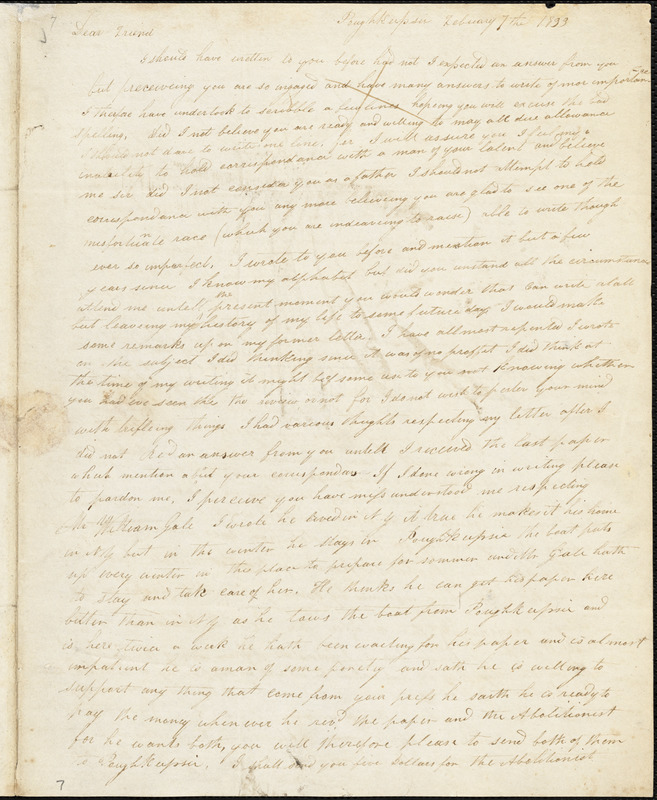 Letter from Nathan Blount, Poughkeepsie, [New York], to William Lloyd Garrison, 1833 February 7th
