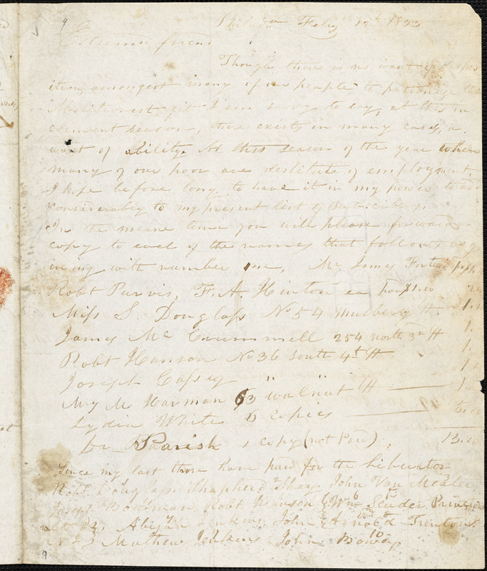 Letter from Joseph Cassey, Philad[elphi]a, [Pennsylvania], to William Lloyd Garrison, 1833 Feb[ruar]y 12