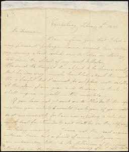 Letter from Prudence Crandall, Canterbury, [Connecticut], to William Lloyd Garrison, 1833 February 12th