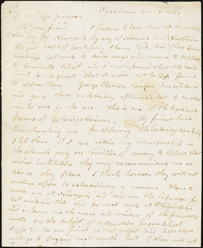 Letter from Arnold Buffum, Providence, [Rhode Island], to William Lloyd Garrison, 1833 [March] 4